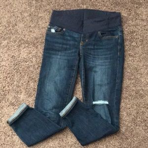 Gap Maternity Distressed Jeans, Inset Panel.
